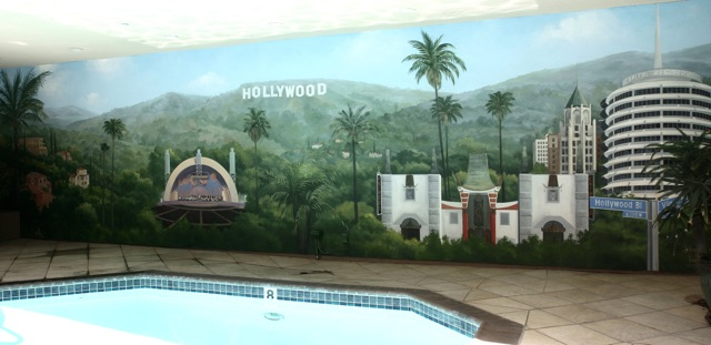 Exterior Wall With Mural Featuring Hollywood Hills Sights Franklin Plaza Apartments
