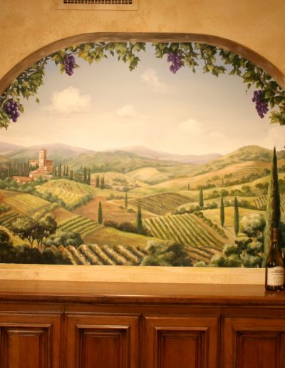 Tuscany mural painted in wine tasting room
