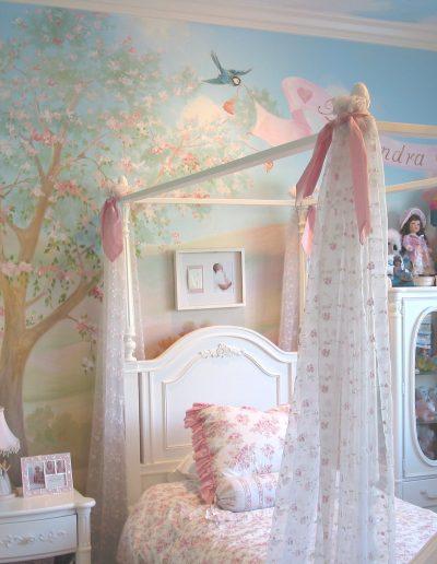 Cherry garden mural painted in girl's bedroom