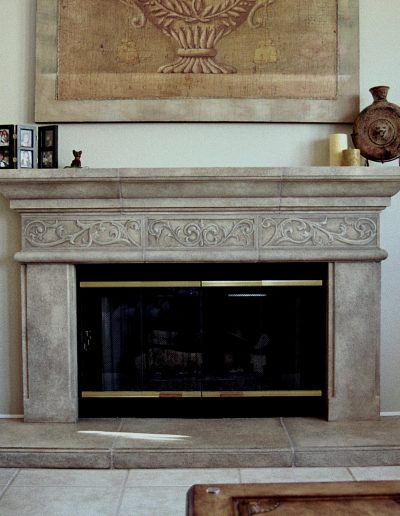 Faux Stone with Carved Trompe L'oeil Ornament
