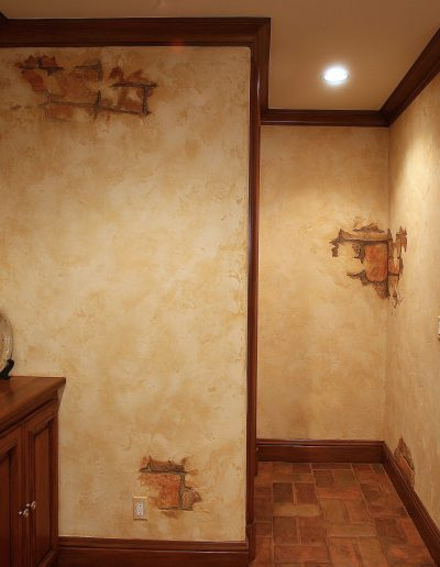 Distressed plaster with faux bricks