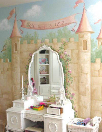 Castle mural painted in a girl's bedroom