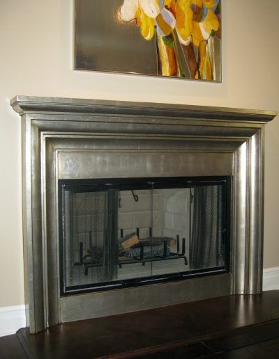 Silver Leaf Finish Applied to Mantel