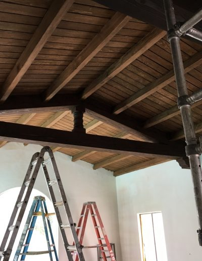Wooden ceiling - old finish removed, staining - work in progress.
