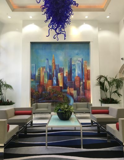 Downtown mural painted in a lobby of Broadway Palace in downtown Los Angeles