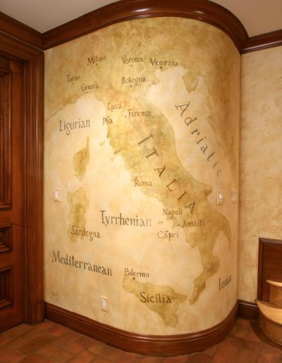 Mural Map of Italy painted in wine tasting room