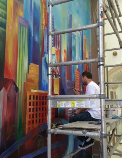 Painting Downtown Los Angeles mural