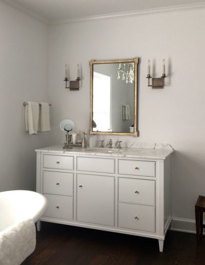 Wateborne satin finish applied to a bathroom vanity.